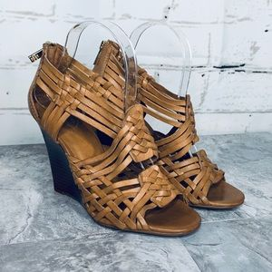 Tory Burch Nadia Leather Wedge Cage Sandal